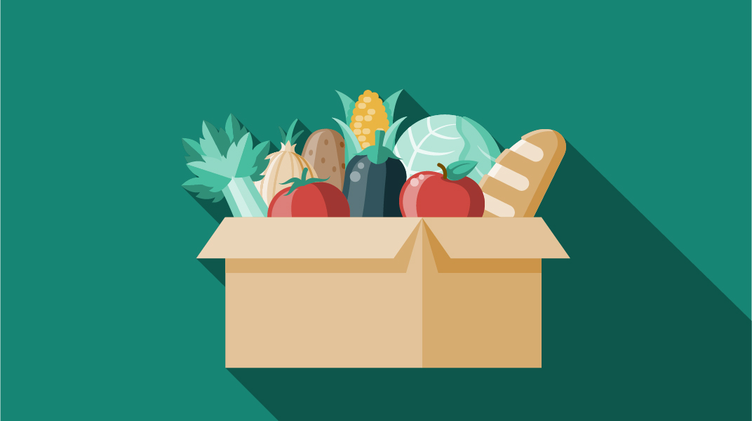 Illustration of a box full of fresh produce