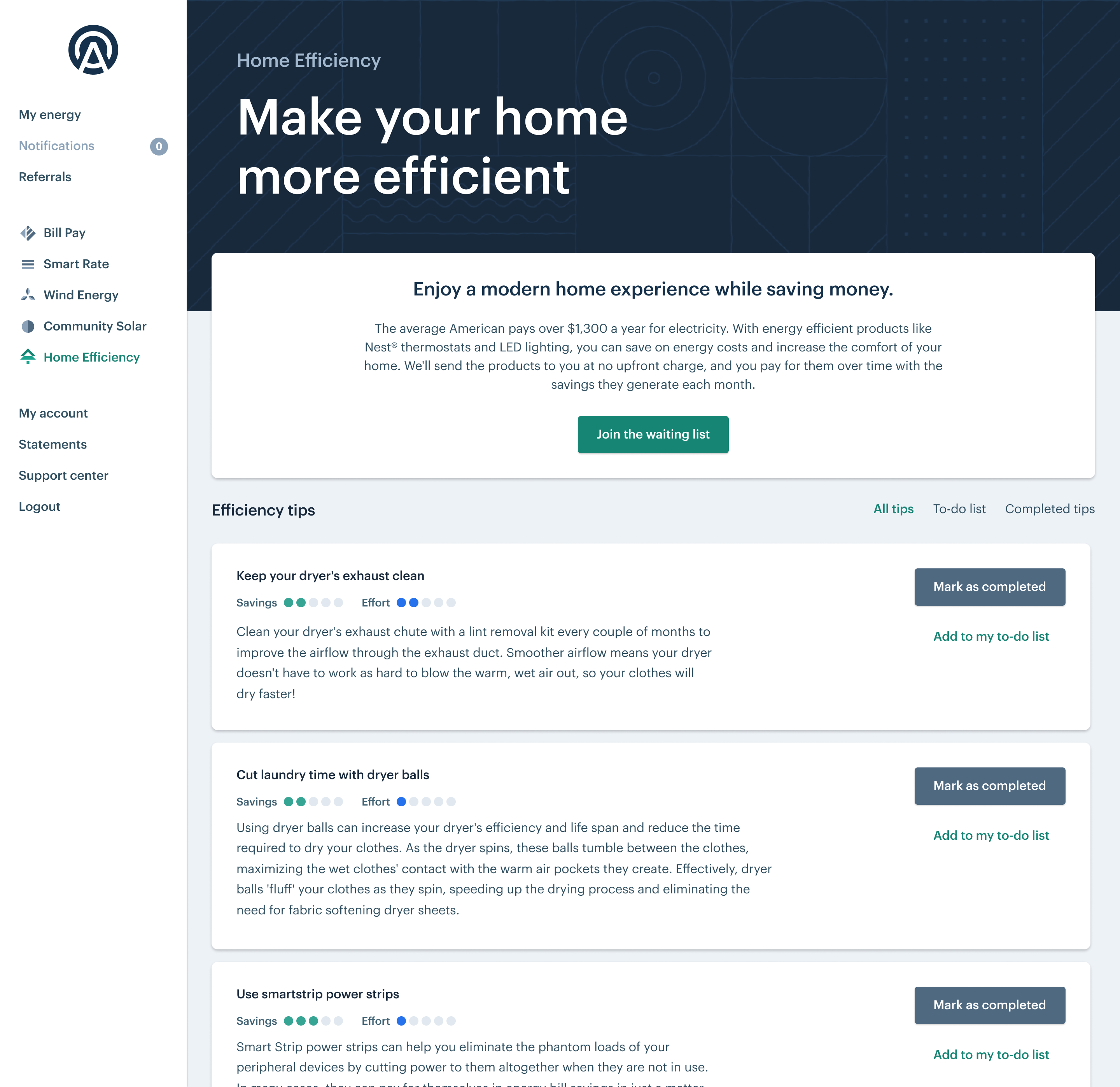 Screen capture of Arcadia dashboard on the Home Efficiency screen, showing three home-efficiency tips
