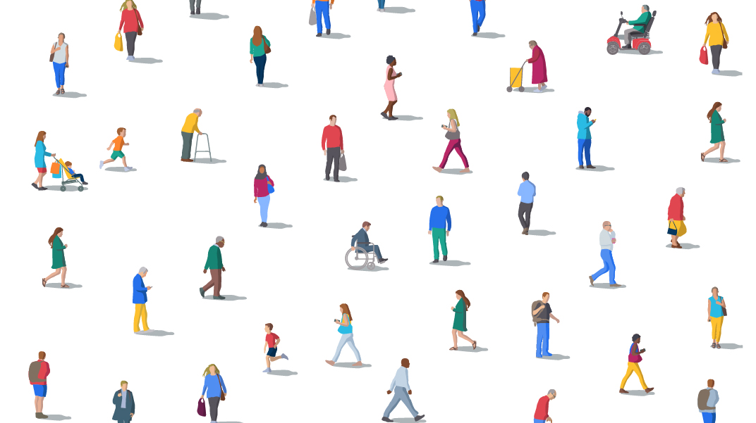 Illustrated people - some walking, some in wheelchairs, some pushing strollers, some looking at phones some running, some using walkers - giving the idea that this space is open to everyone
