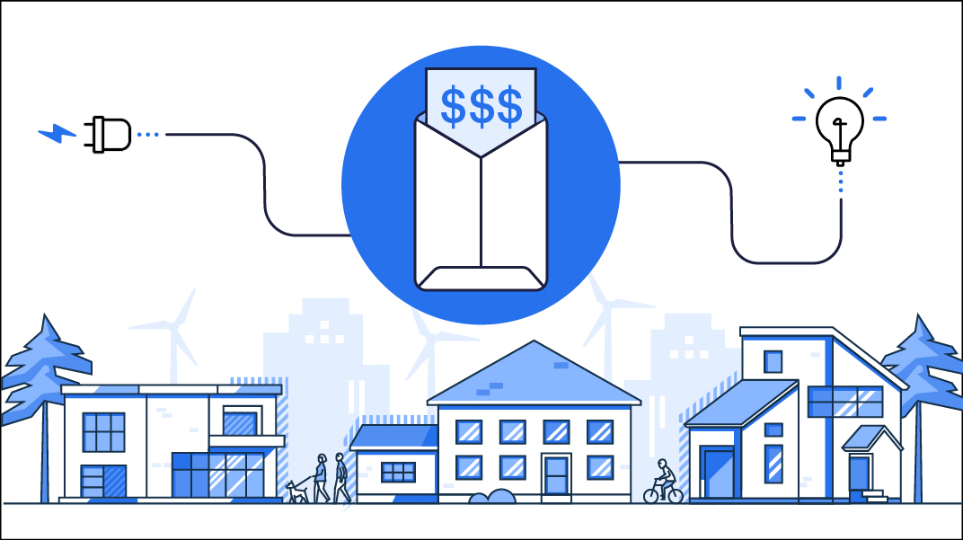 Graphic showing three houses underneath a socket, an envelope of money, and a lightbulb