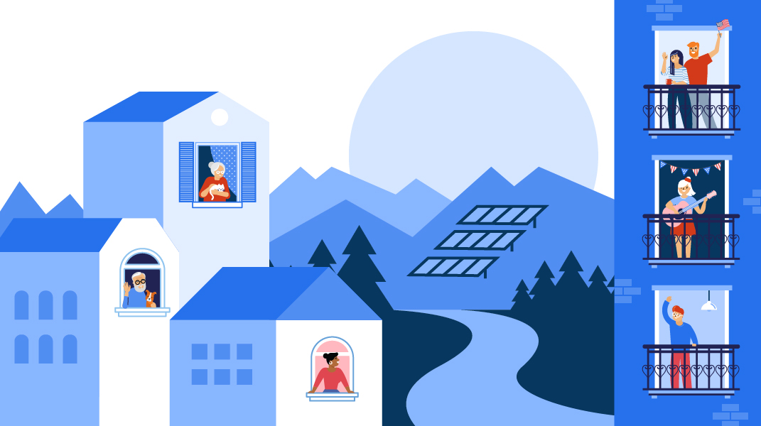 Illustration of neighbors hanging out the windows of homes and apartment buildings. In the distance, the sun rises over a mountain with solar panels on the side