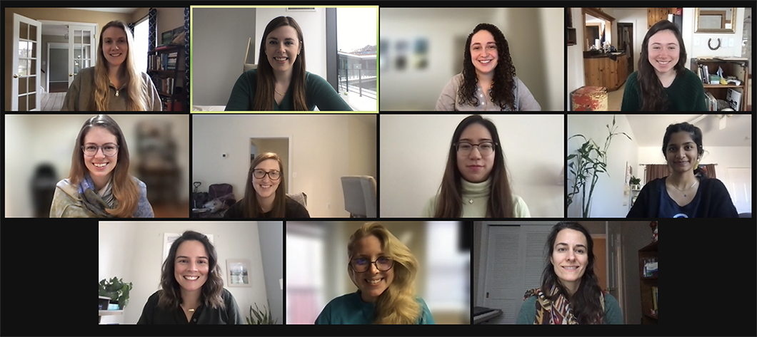 Screenshot from a video call with eleven of the women on Arcadia's engineering team