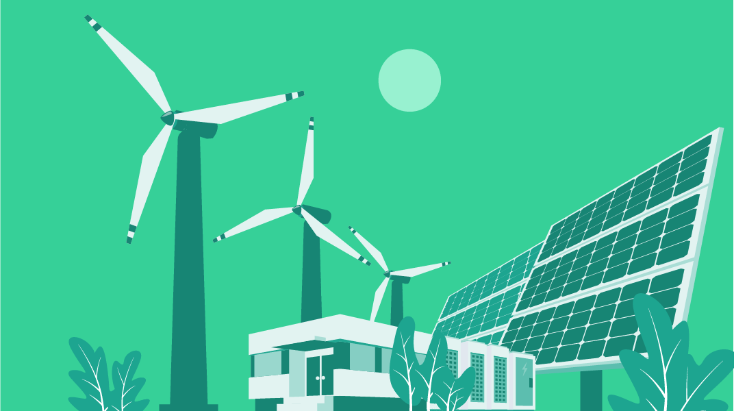 Illustration showing wind turbines, solar panels, and batteries outside a home