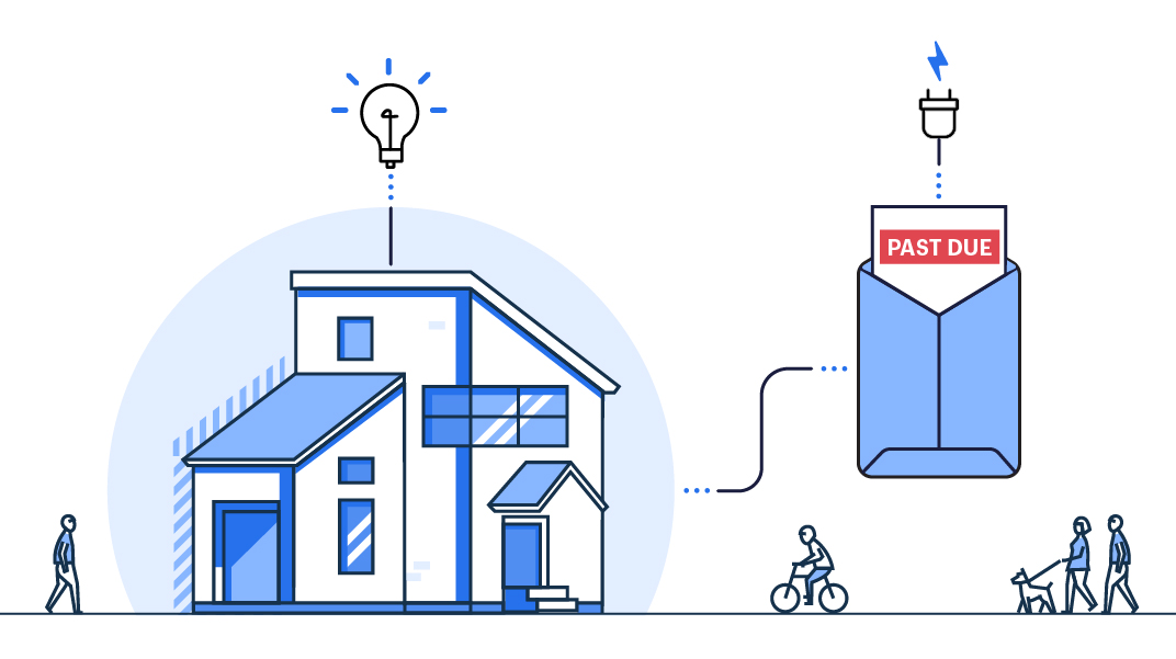 Illustration of a house with a lightbulb overhead. A power cord connects the house to an envelope to the right. A bill peeks out of the envelope, with